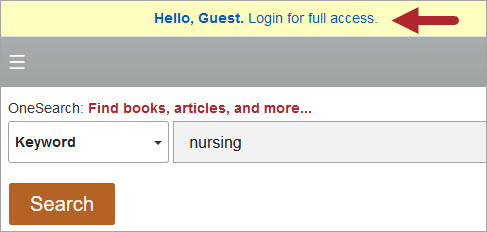EBSCO Discovery Service off-campus login link